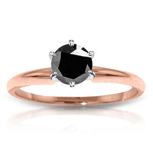 14K Solid Rose Gold Solitaire Ring w/ 0.50 Carat Black Diamond