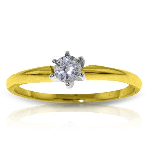 0.15 CTW 14K Solid Gold Solitaire Ring 0.15 Carat Natural Diamond
