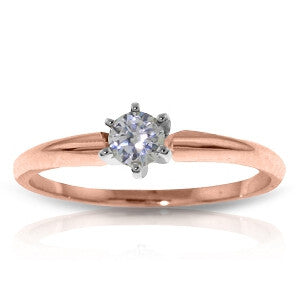 14K Solid Rose Gold Solitaire Ring w/ 0.15 Carat Natural Diamond