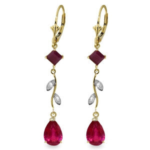 3.97 CTW 14K Solid Gold Chandelier Earrings Diamond Ruby