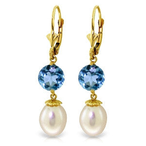 11.1 Carat 14K Solid Gold Blue Orchid Blue Topaz Pearl Earrings