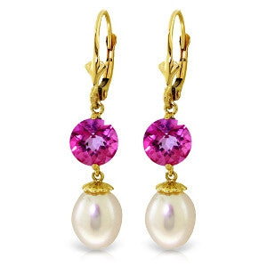 11.1 CTW 14K Solid Gold Breezy Afternoon Pink Topaz Pearl Earrings