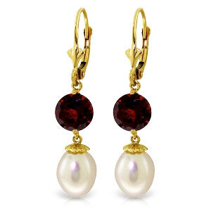 11.1 Carat 14K Solid Gold Captured Moment Garnet Pearl Earrings