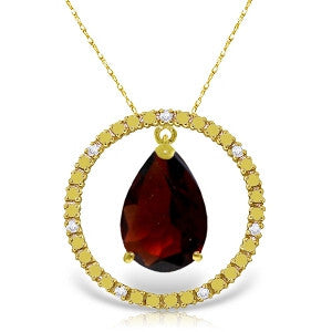 6.6 Carat 14K Solid Gold Diamond Garnet Circle Of Love Necklace