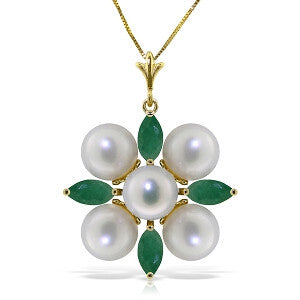 6.3 Carat 14K Solid Gold It Takes Two Emerald Pearl Necklace