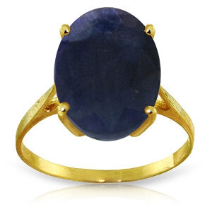 8.5 Carat 14K Solid Gold Ring Natural Oval Sapphire