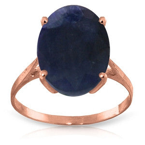 8.5 CTW 14K Solid Rose Gold Ring Natural Oval Sapphire