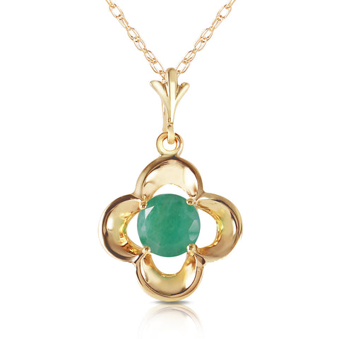 0.55 Carat 14K Solid Gold Everything Flows Emerald Necklace
