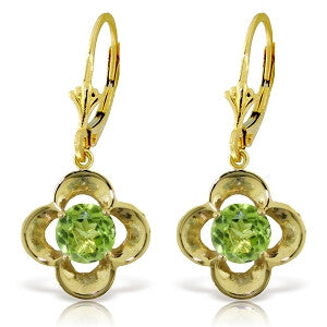 1.1 Carat 14K Solid Gold Adriatic Sea Peridot Earrings