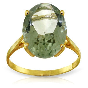 7.55 CTW 14K Solid Gold Ring Natural Green Amethyst