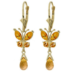 2.74 Carat 14K Solid Gold Butterfly Earrings Natural Citrine
