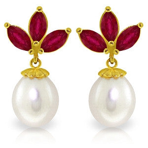 9.5 Carat 14K Solid Gold Dangling Earrings Pearl Ruby
