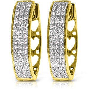 0.45 Carat 10k Gold Hoop Diamond Earrings Heart Motif On Back