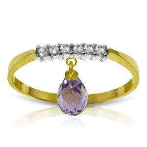 1.45 Carat 14K Solid Gold Ring Natural Diamond Dangling Amethyst