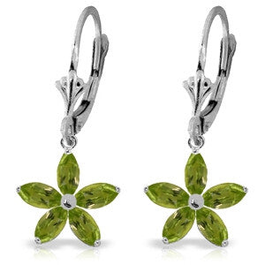 2.8 Carat 14K Solid White Gold Leverback Earrings Natural Peridot