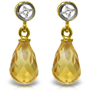 2.73 Carat 14K Solid Gold Breakthrough Citrine Diamond Earrings