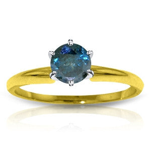0.5 Carat 14K Solid Gold Solitaire Ring 0.50 Carat Natural Blue Di