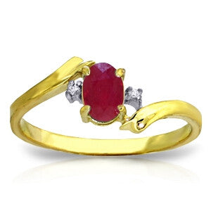 0.46 Carat 14K Solid Gold Rings Natural Diamond Ruby