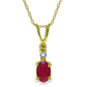 0.46 CTW 14K Solid Gold Earthly Goods Ruby Diamond Necklace