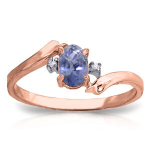 0.46 Carat 14K Solid Rose Gold Rings Natural Diamond Tanzanite