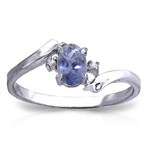 0.46 Carat 14K Solid White Gold Rings Natural Diamond Tanzanite