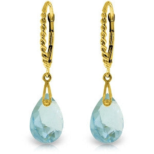 6 CTW 14K Solid Gold Aphrodite Blue Topaz Earrings