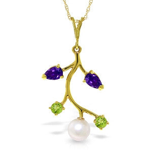 2.7 Carat 14K Solid Gold Cotton Field Amethyst Peridot Necklace