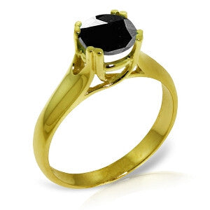 14K Solid Gold Solitaire Ring 1.0 Carat Black Diamond