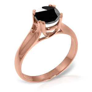 14K Solid Rose Gold Solitaire Ring w/ 1.0 Carat Black Diamond