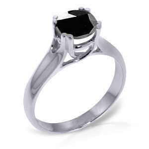14K Solid White Gold Solitaire Ring 1.0 Carat Black Diamond