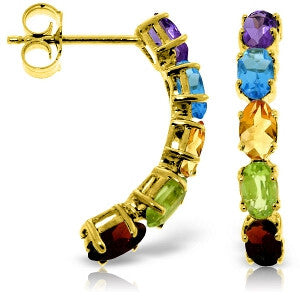 2.5 CTW 14K Solid Gold Earrings Natural Multicolor Gemstones