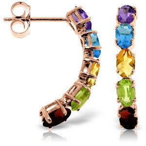 14K Solid Rose Gold Earrings w/ Natural Multicolor Gemstones