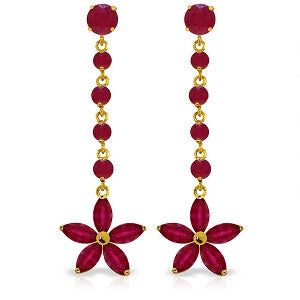 4.8 CTW 14K Solid Gold Chandelier Earrings Ruby