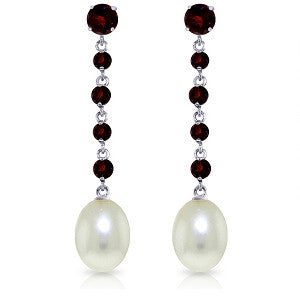 10 Carat 14K Solid White Gold Chandelier Earrings Garnet Pearl