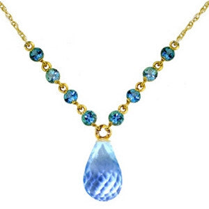 11.5 CTW 14K Solid Gold All That Glitters Blue Topaz Necklace