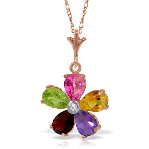 14K Solid Rose Gold Necklace w/ Natural Multi Gemstones & Diamond