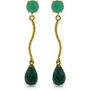 7.9 CTW 14K Solid Gold Dangling Earrings Natural Emerald