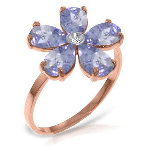 14K Solid Rose Gold Ring w/ Natural Diamond & Tanzanites