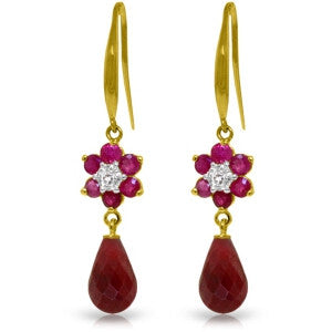 7.61 CTW 14K Solid Gold Botanica Ruby Diamond Earrings