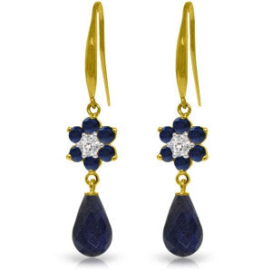 7.61 CTW 14K Solid Gold Botanica Sapphire Diamond Earrings