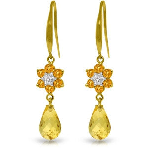 5.51 Carat 14K Solid Gold Botanica Citrine Diamond Earrings