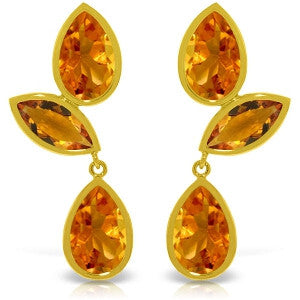 13 Carat 14K Solid Gold Alexandra Citrine Earrings
