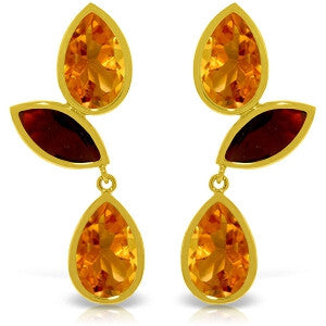13 Carat 14K Solid Gold Alexandra Citrine Garnet Earrings