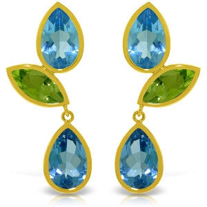 13.6 CTW 14K Solid Gold Alexandra Blue Topaz Peridot Earrings