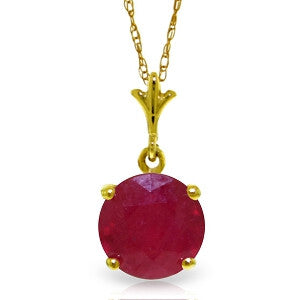 2.25 Carat 14K Solid Gold Entering The Heart Ruby Necklace