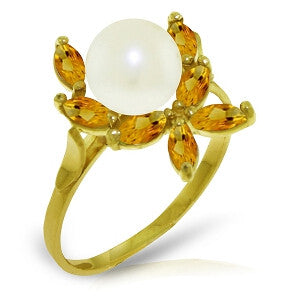 2.65 CTW 14K Solid Gold Ring Natural Citrine Pearl