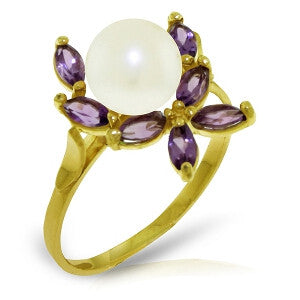 2.65 Carat 14K Solid Gold Ring Natural Amethyst Pearl