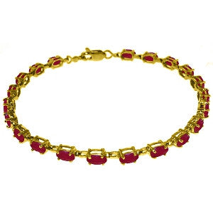 8 Carat 14K Solid Gold Tennis Bracelet Natural Ruby