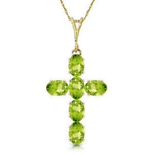 1.5 Carat 14K Solid Gold Cross Necklace Natural Peridot