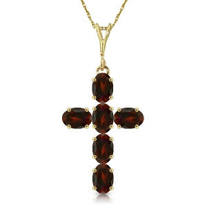 1.5 Carat 14K Solid Gold Cross Necklace Natural Garnet
